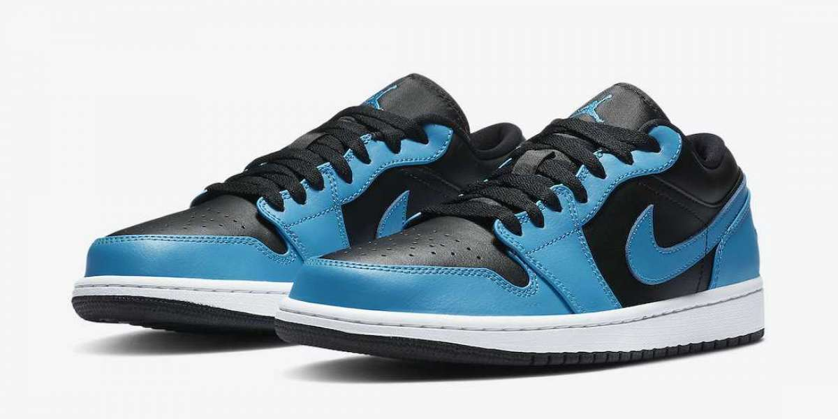 "553558-410 Air Jordan 1 Low ""Laser Blue"" Leather Basketball Shoes"