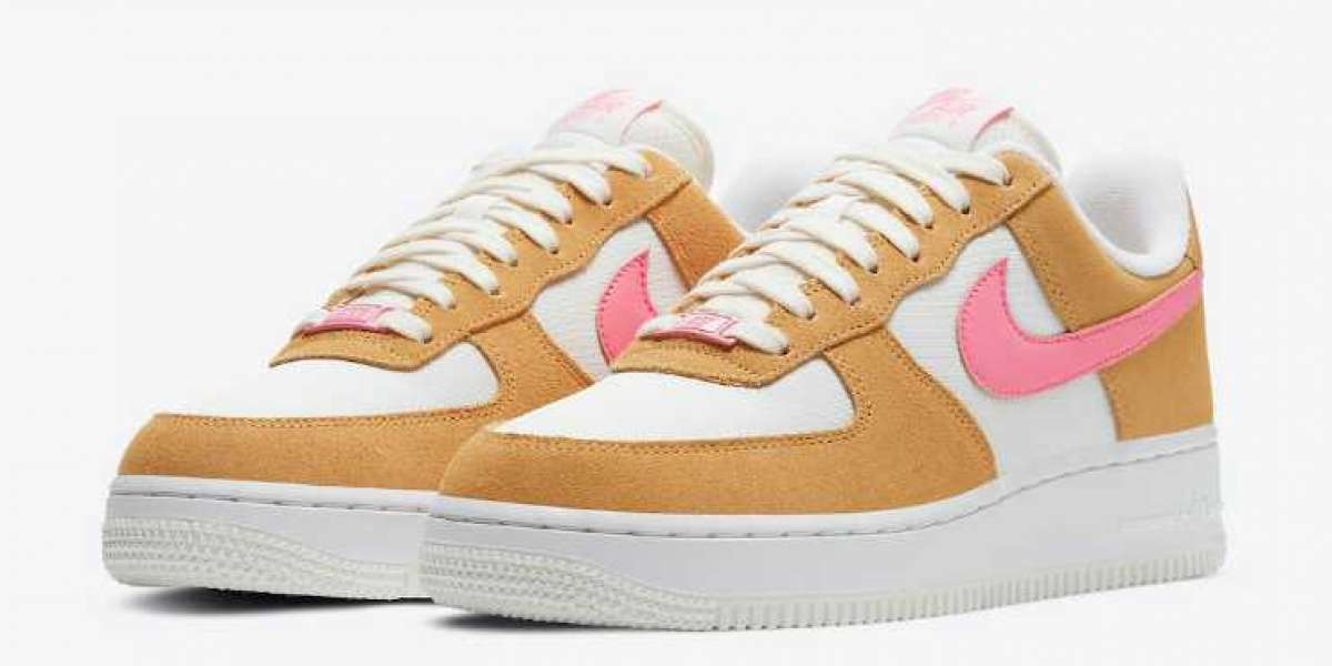 New Sale Nike Air Force 1 Low White Flax Hot Pink Swooshes